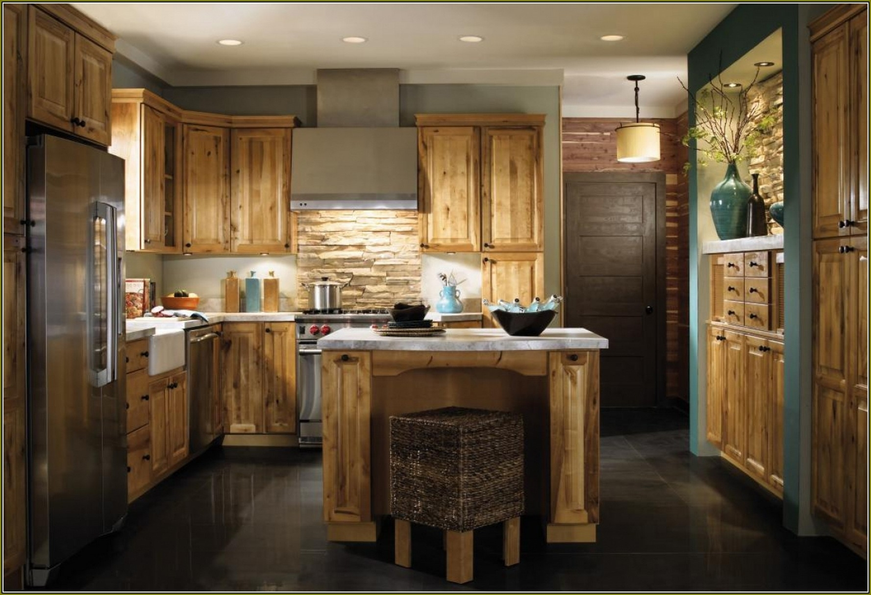 Rustic Kitchen Colors With Hickory Cabinets Ideas ...
