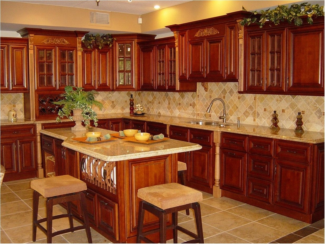 Exquisite Cherry Kitchen Cabinets with Granite Countertops ...